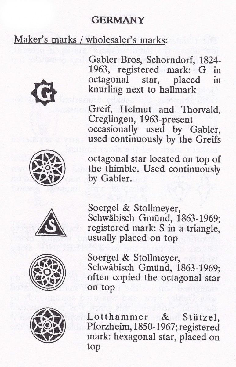 GERMAN MAKER'S & WHOLESALER'S MARKS