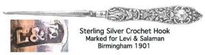 Sterling Silver Crochet Hook. Levi & Salaman, Birmingham, circa 1901